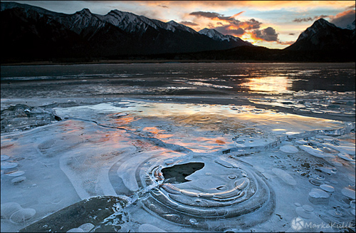 "Icy Sunrise at Preacher'""s Point, Abraham Lake, Alberta by Marko Kulik"