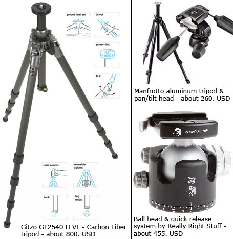 Tripods and heads for photography